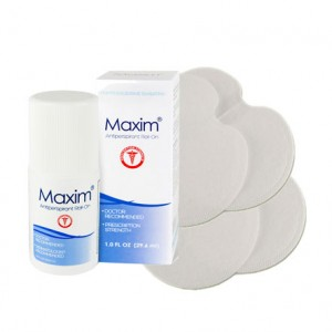Maxim Antiperspirant roll on + 5 pairs Sweat Pads Value Pack for Excessive Sweating