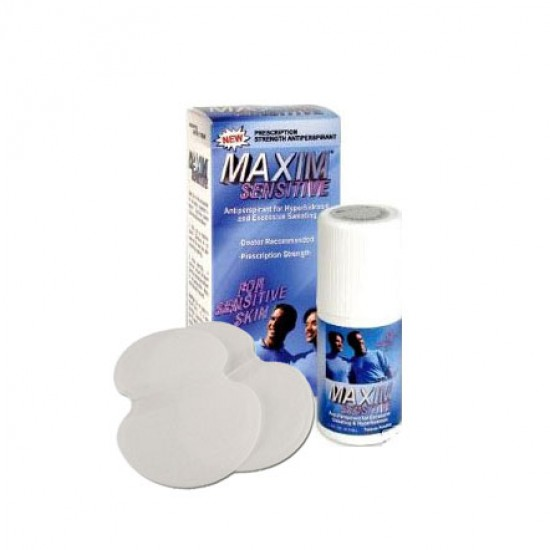 Maxim Sensitive Antiperspirant roll on + 5 pairs Sweat Pads Value Pack for Excessive Sweating